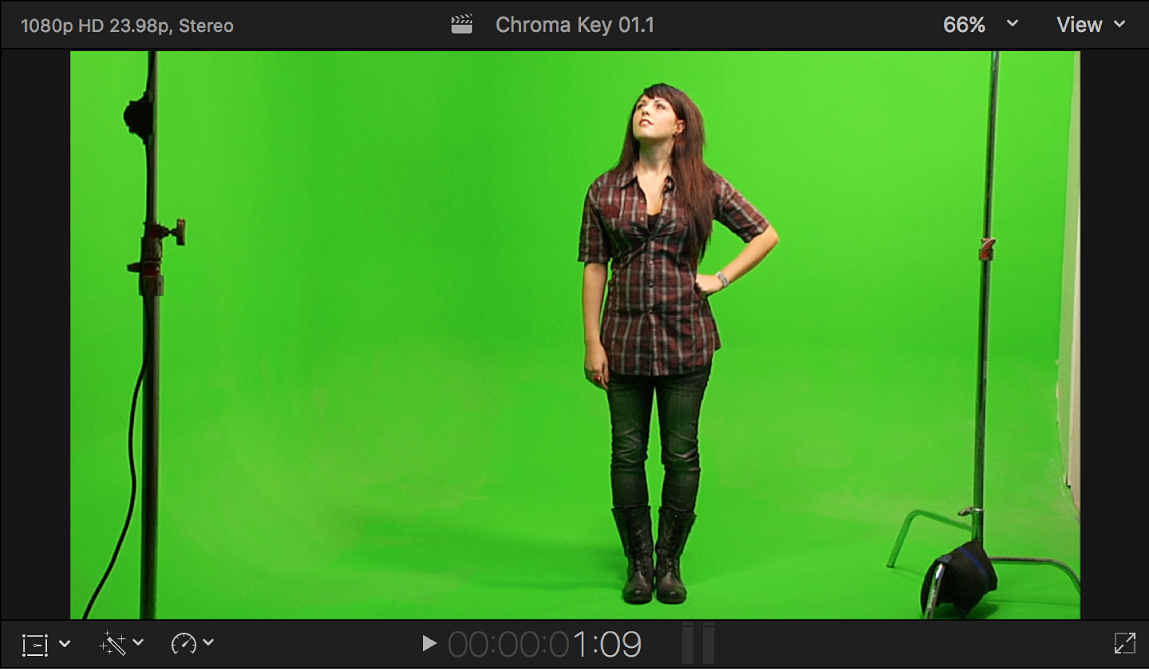 The viewer showing chroma key foreground video of a woman standing in front of a green background