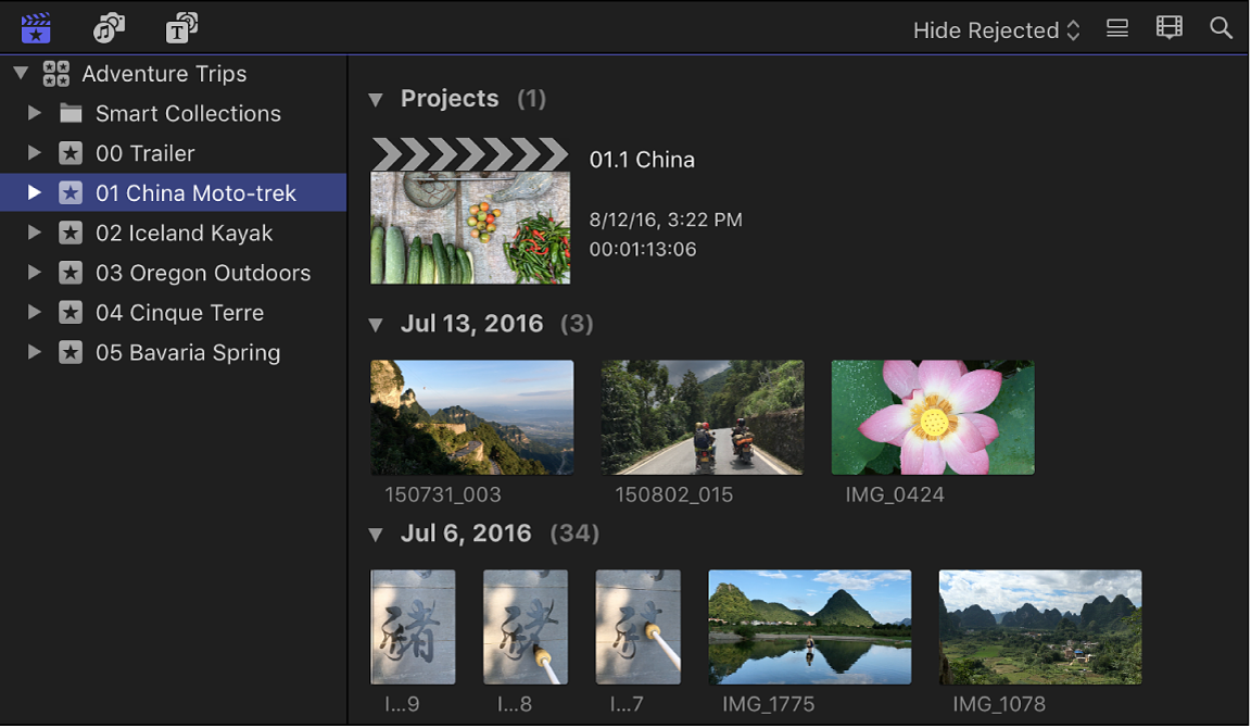 The browser in filmstrip view