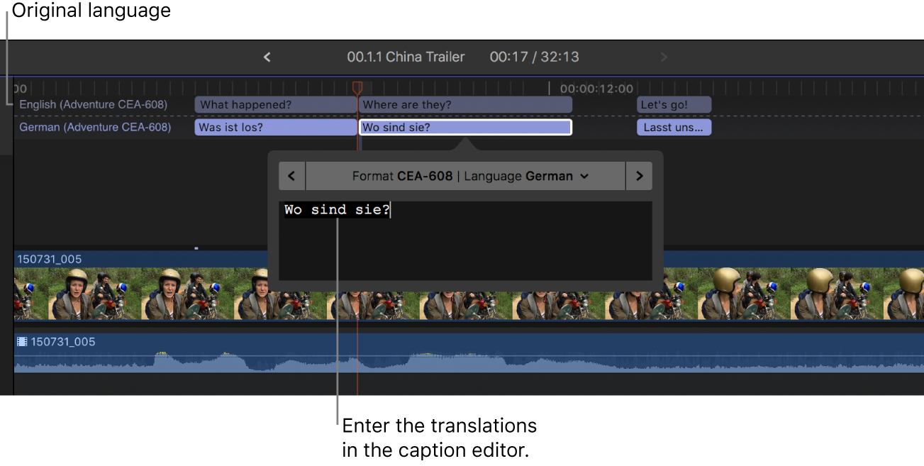 The caption editor showing a German translation of a selected duplicate caption
