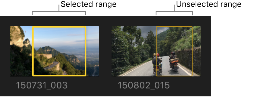 Selected and unselected ranges in clips in the browser