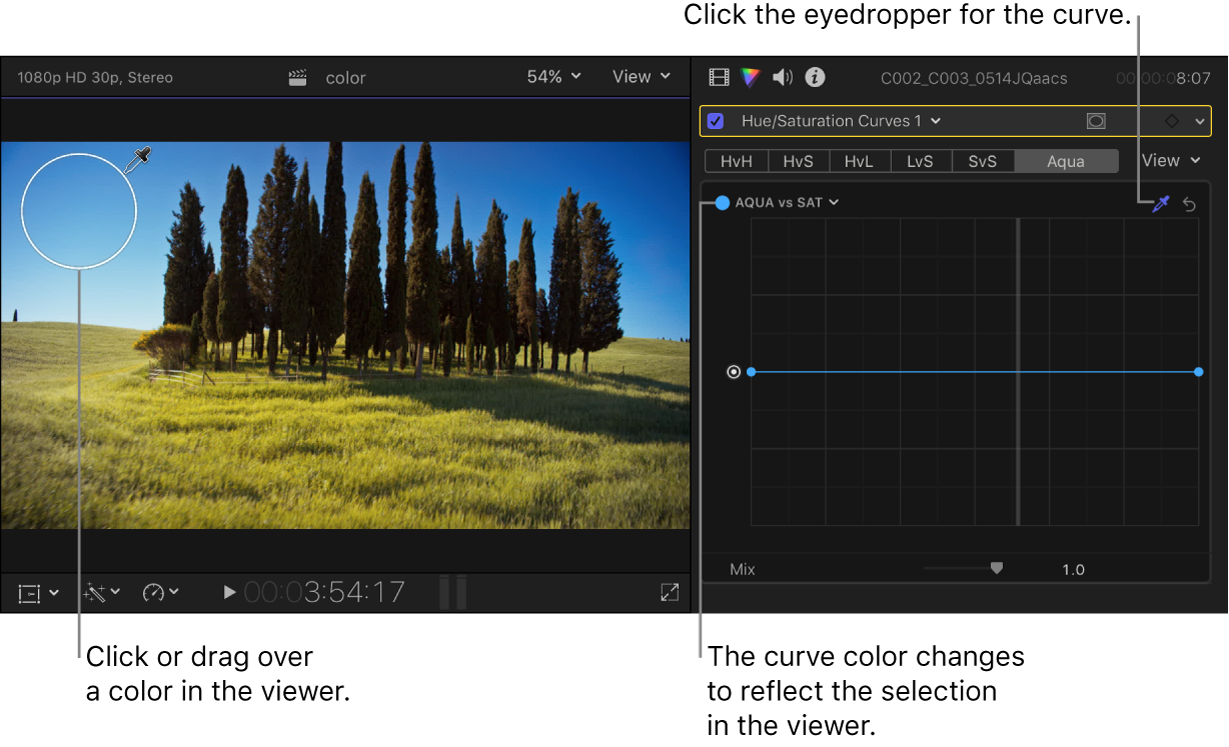 The eyedropper positioned over a color in the viewer, and the Color inspector showing the curve changed to the selected color