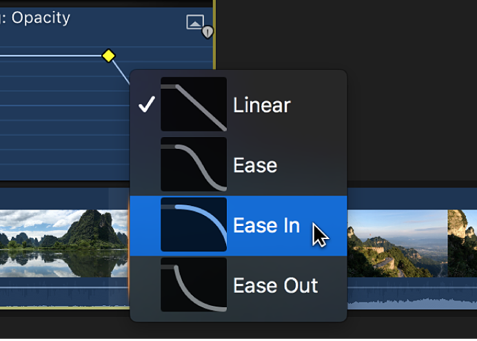 Curve shape options in a shortcut menu in the Video Animation editor