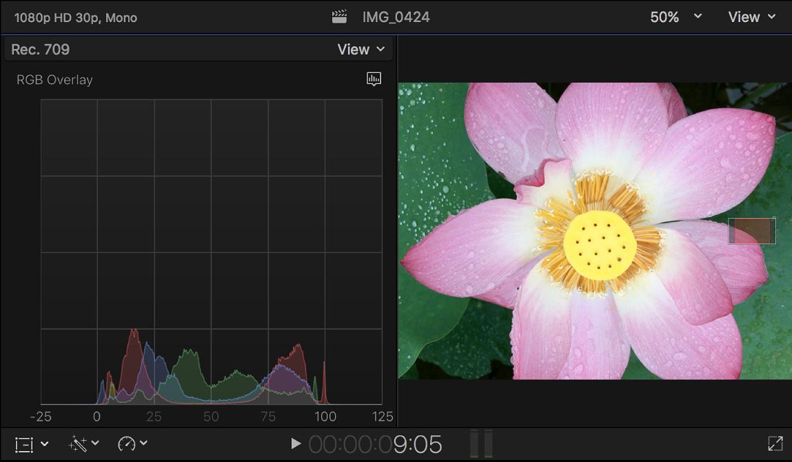 El histograma de superposición RGB mostrado a la izquierda del visor