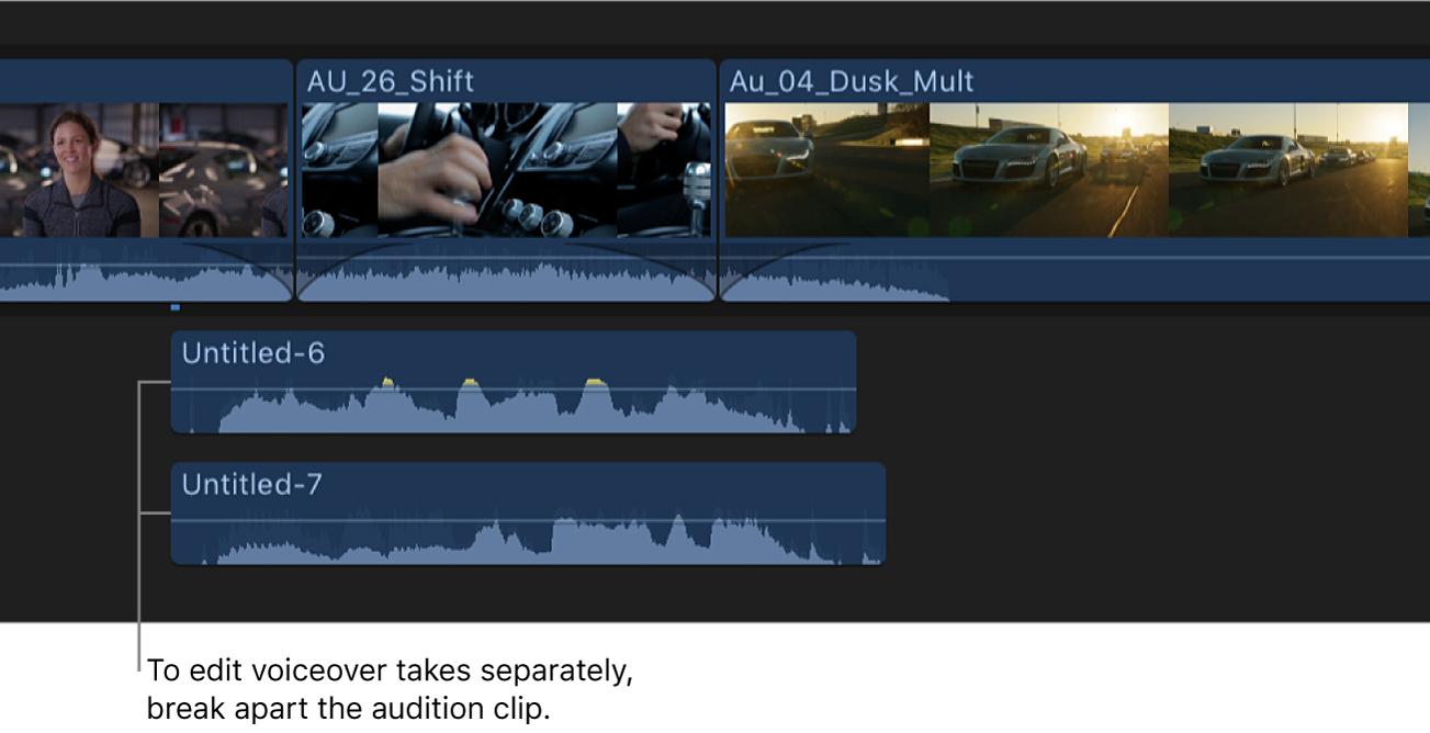 Línea de tiempo con un clip de audición de voz en off dividido en varios clips