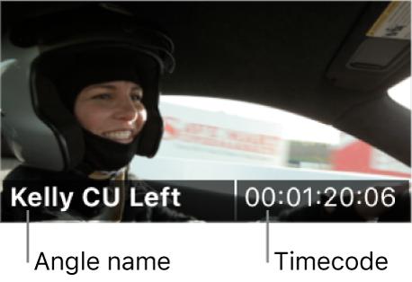 El nombre del ángulo y el código de tiempo mostrados en un ángulo