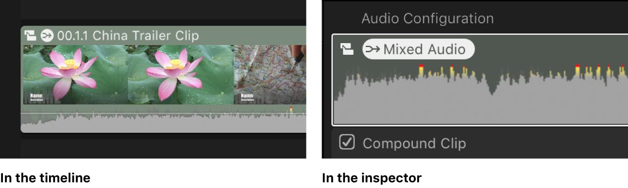 """El mismo clip en la línea de tiempo y el inspector de audio con el icono de """"Audio mezclado"""""""