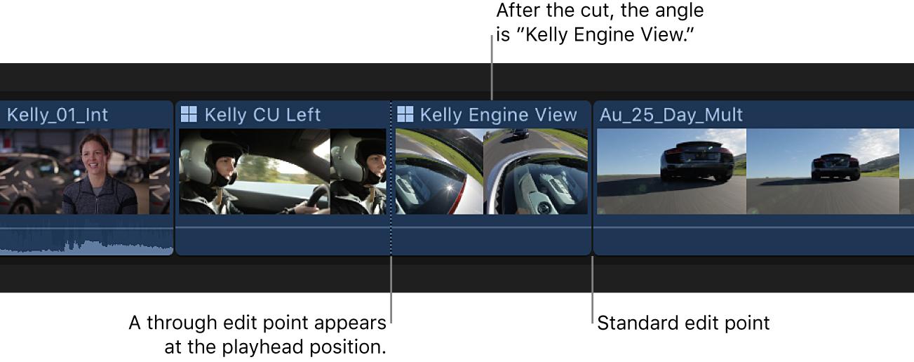 El mismo clip Multicam en la línea de tiempo tras el cambio de ángulo, con una línea punteada que indica dónde se produce el cambio de ángulo