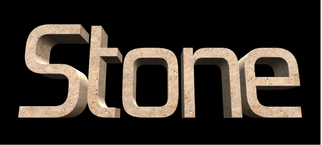 Texto 3D en el visor con la sustancia Piedra aplicada
