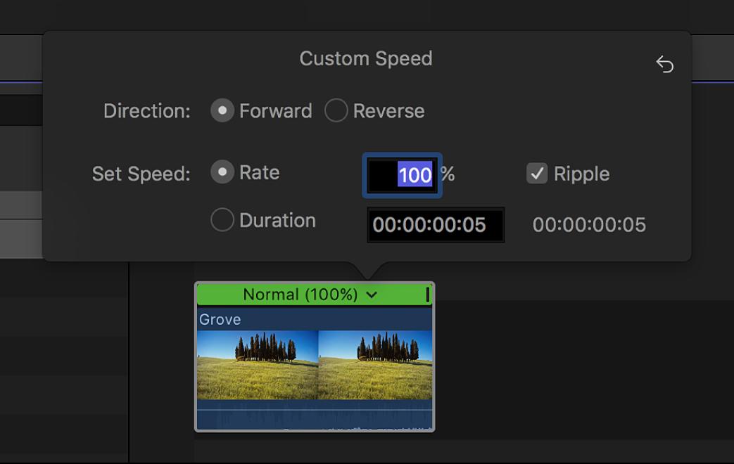 """La línea de tiempo con la ventana """"Velocidad personalizada"""" encima de un clip seleccionado"""