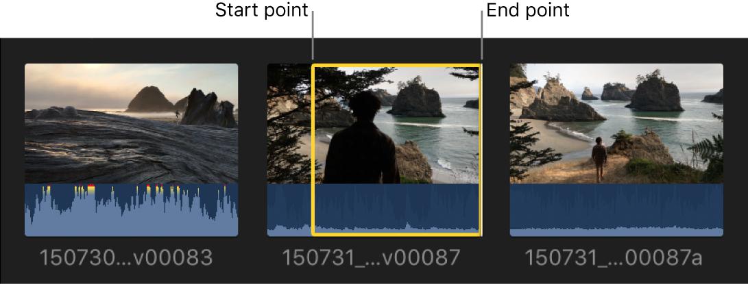 Puntos inicial y final ajustados en un clip en el explorador