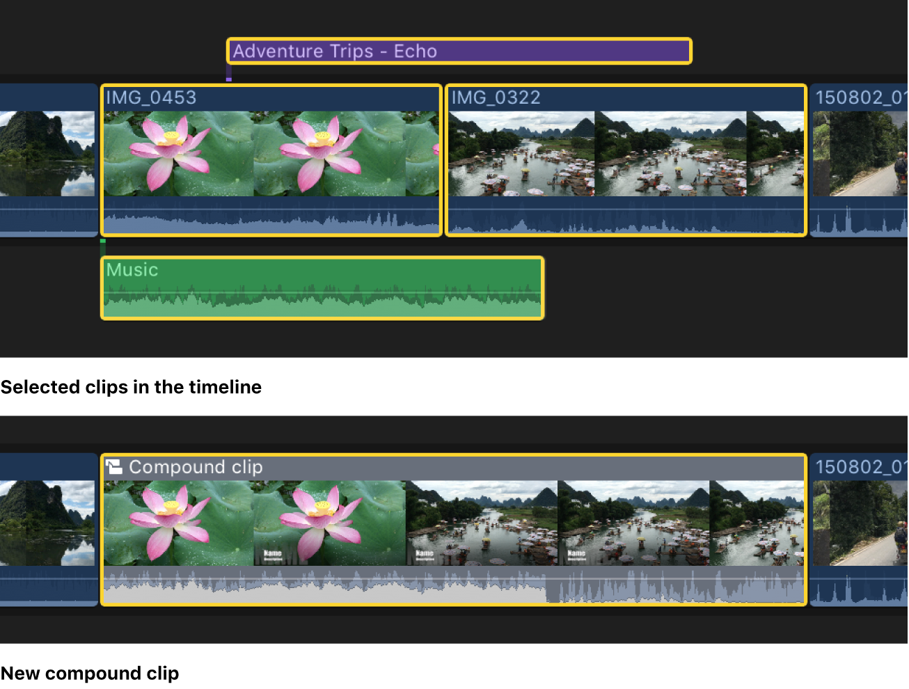Un proyecto en la línea de tiempo antes y después de su simplificación con un clip compuesto