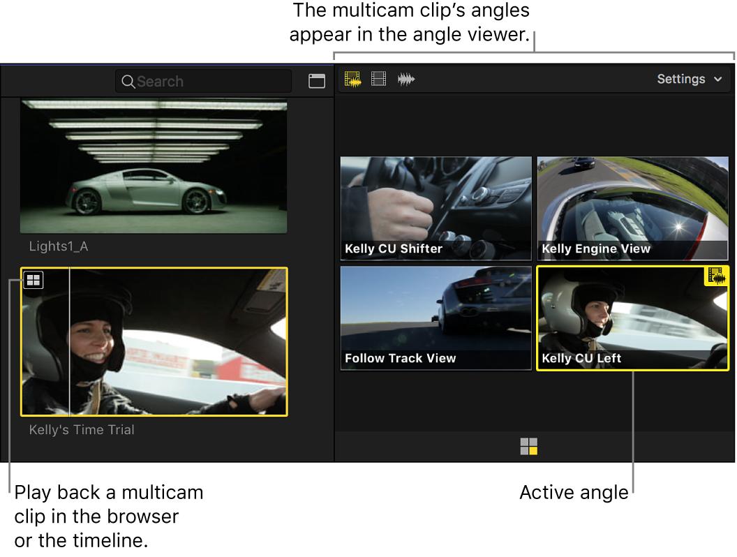 El visor de ángulos con los ángulos de un clip Multicam seleccionado en el explorador