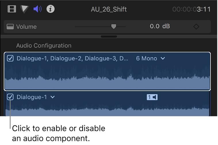 """Sección """"Configuración de audio"""" del inspector de audio con opciones para activar y desactivar componentes de audio"""