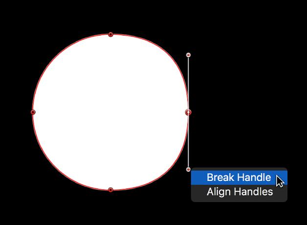 """Visor con el menú de función rápida de un punto de tirador de tangente, con las opciones """"Dividir tirador"""" y """"Alinear tiradores"""""""