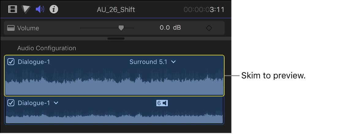 """Componentes de audio en la sección """"Configuración de audio"""" del inspector de audio"""