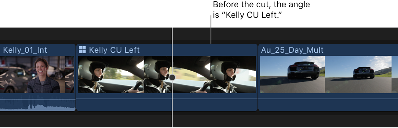 Un clip Multicam en la línea de tiempo antes de un cambio de ángulo
