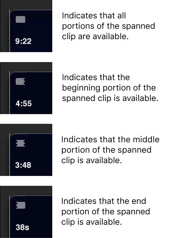 Iconos de clip expandido que indican qué fragmento está disponible
