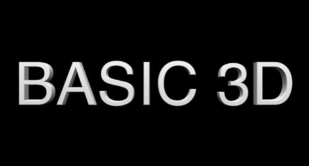 El visor con un título 3D básico con ajustes por omisión