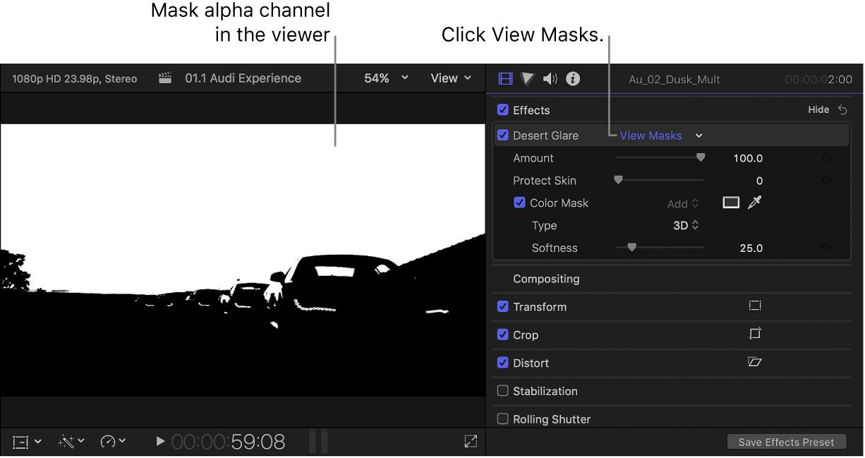 El visor a la izquierda con el canal alfa de la máscara y el inspector de vídeo abierto a la derecha