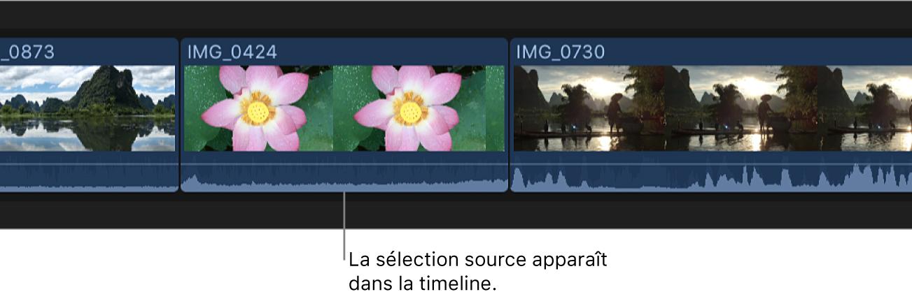 Sélection source dans la timeline après le remplacement du plan d'origine