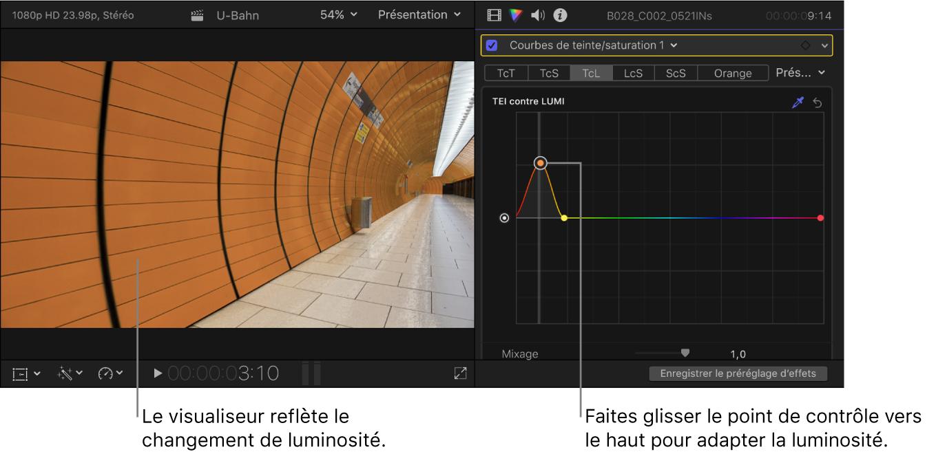 Visualiseur à gauche montrant le changement de luminosité et l'inspecteur de couleur à droite montrant les points de contrôle sur la courbe Teinte contre luminance