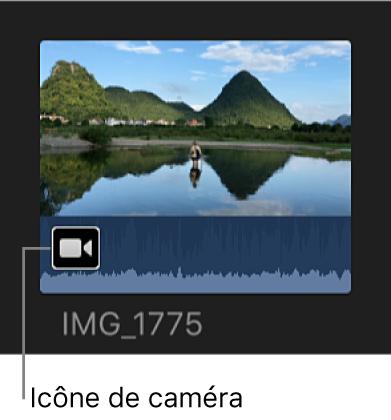 Icône de caméra sur un plan partiellement importé