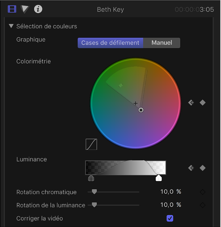 Commandes «Sélection des couleurs» dans l'inspecteur vidéo