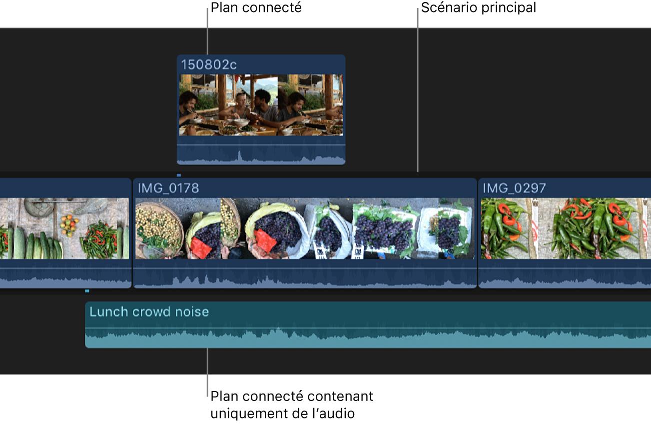 Plans vidéo et plans audio connectés dans la timeline