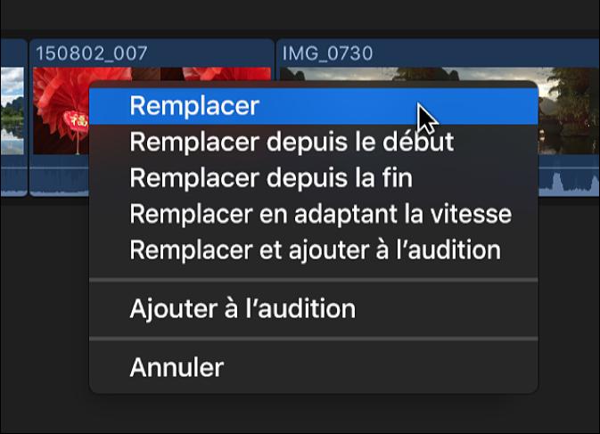 Option Remplacer dans le menu contextuel de la timeline