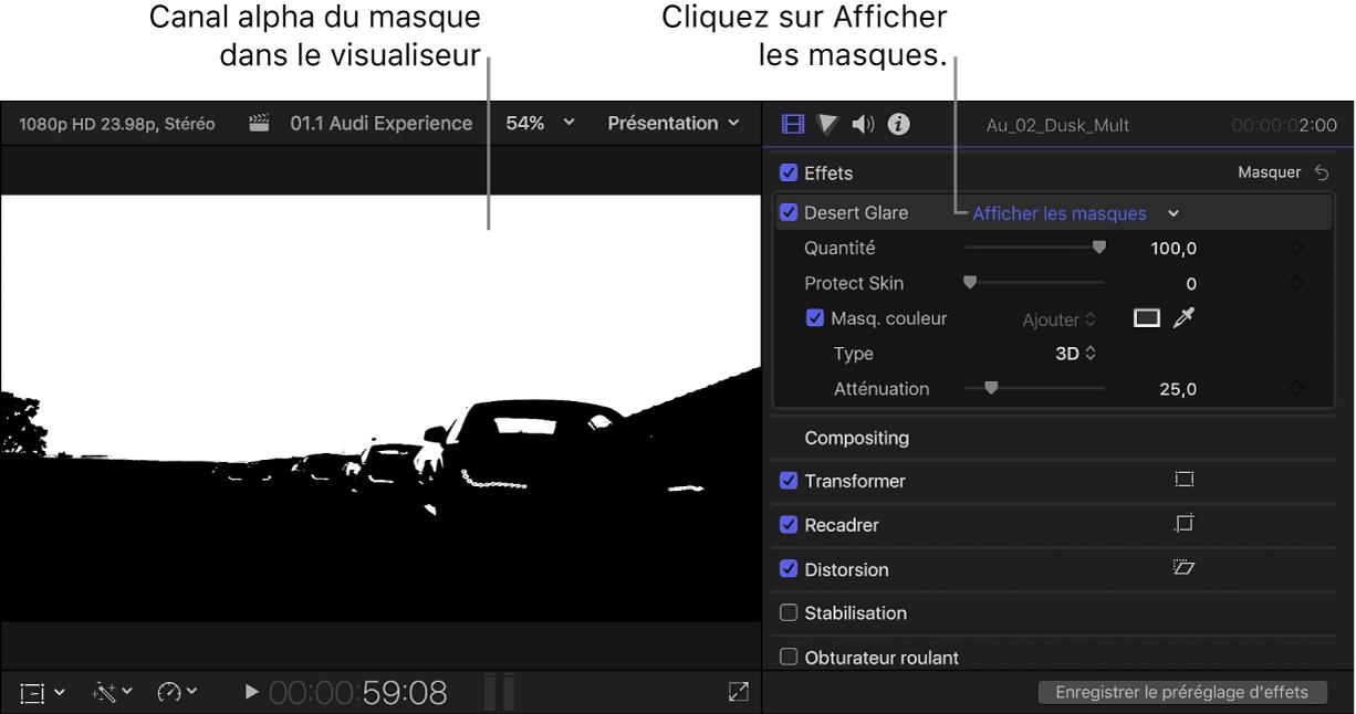Visualiseur à gauche affichant le canal alpha du masque de couleur d'un plan et inspecteur vidéo ouvert à droite