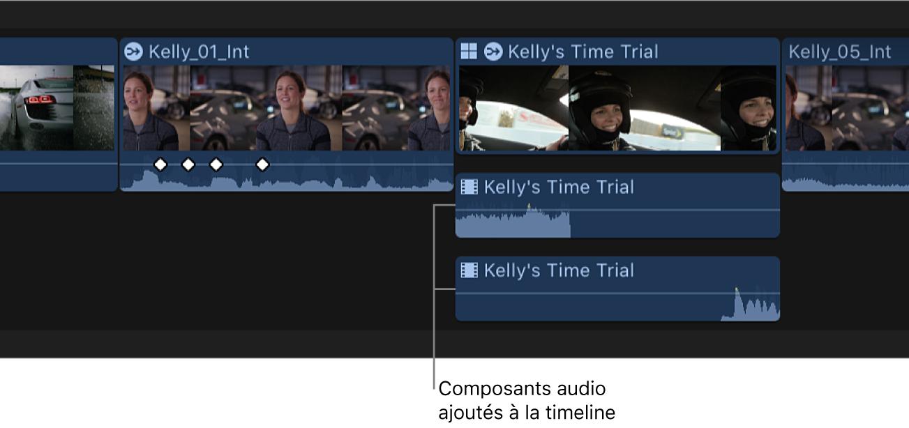 Composants audio ajoutés développés dans la timeline
