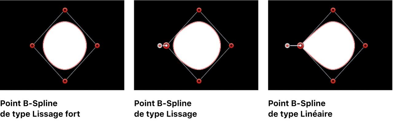 Visualiseur affichant une forme de masque avec des points B-Spline réglés sur Lissage fort, Lissage et Linéaire