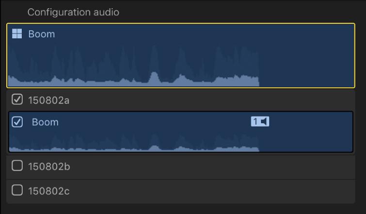 Section Configuration audio de l'inspecteur audio, avec le composant de rôle pour l'angle actif d'un plan multicam