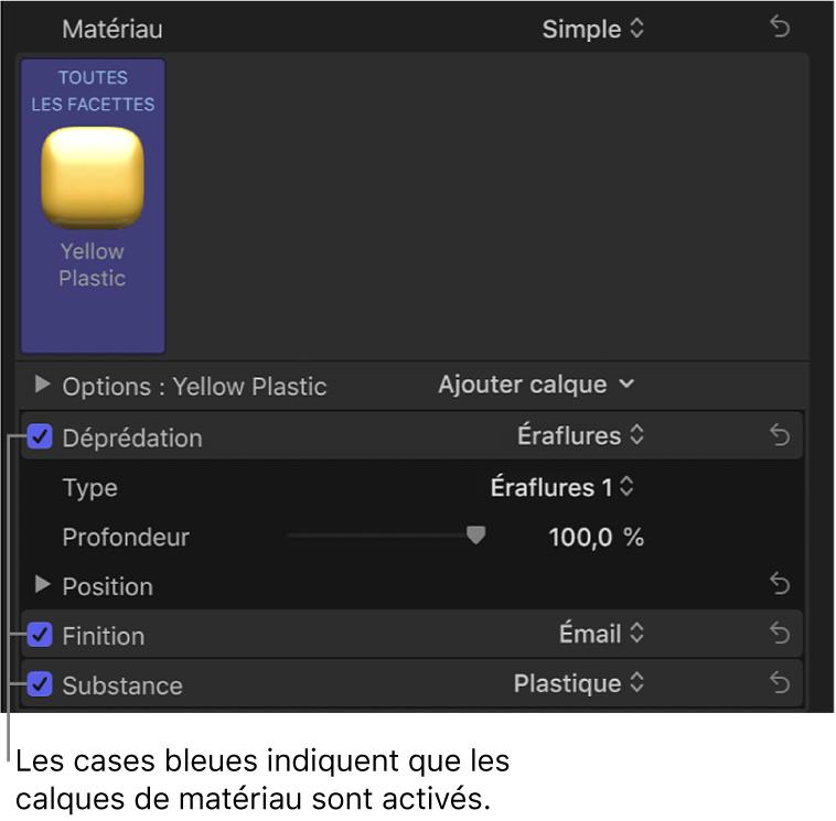 Section Matériau de l'inspecteur de texte affichant les calques de matériau actifs avec des cases bleues