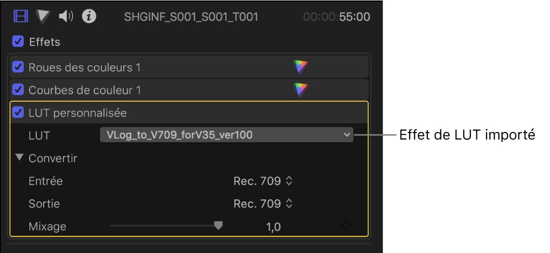 Section LUT personnalisée de l'inspecteur vidéo avec son menu local LUT reprenant un effet de LUT importé