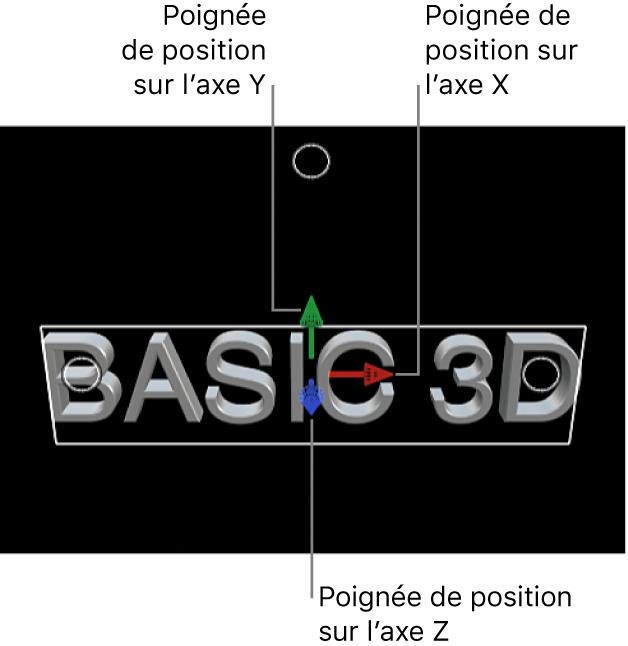 Titre 3D dans le visualiseur, avec poignées de position pour les axes X, Y et Z