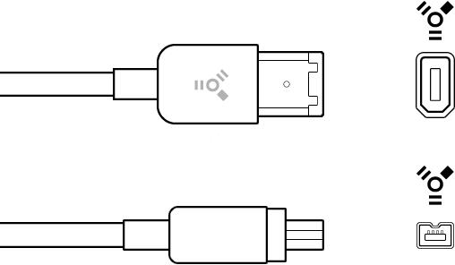 Connecteurs à 4et 6broches de câble FireWire