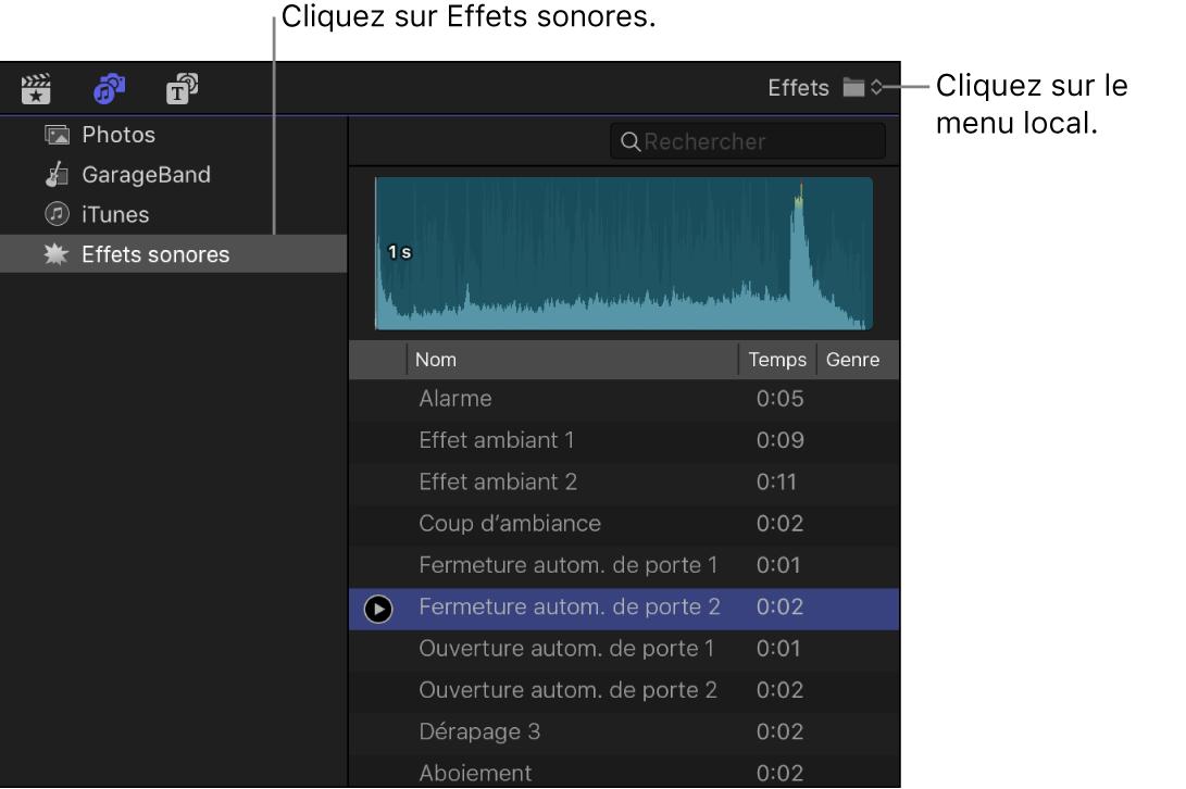 Barre latérale Photos et audio montrant la catégorie Effets sonores sélectionnée, et le navigateur affichant la liste des plans d'effets sonores