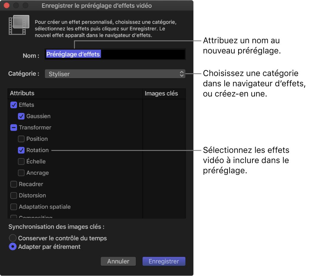 Fenêtre Enregistrer le préréglage d'effets vidéo