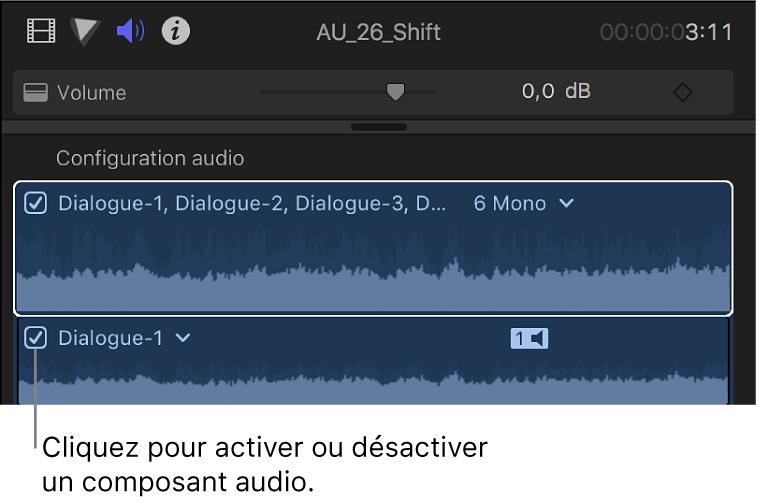 Section Configuration audio de l'inspecteur audio affichant des cases permettant d'activer et de désactiver des composants audio