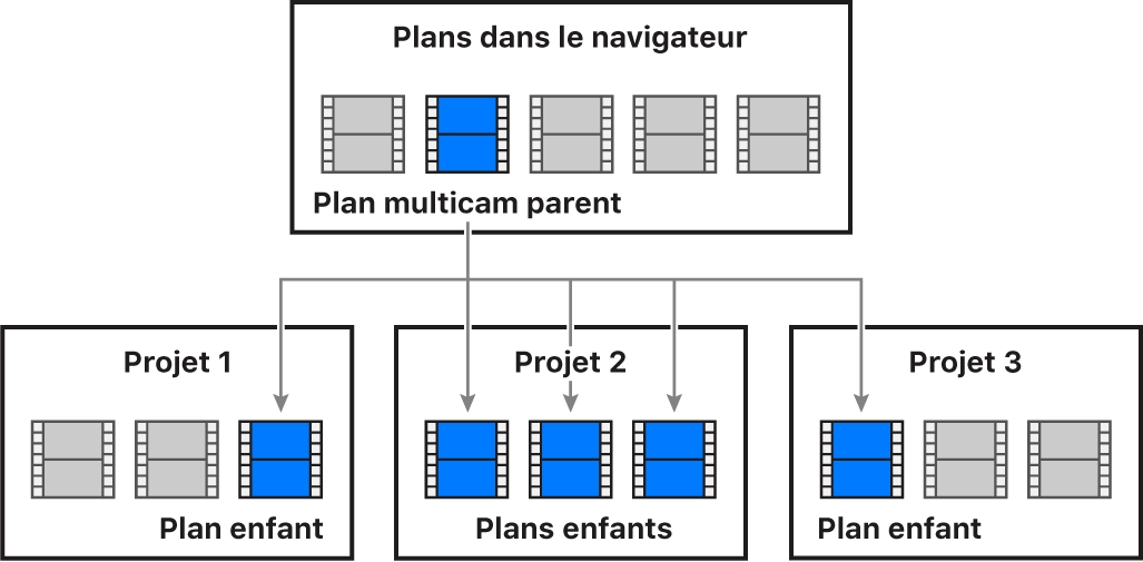 Diagramme illustrant la relation entre un plan multicam parent dans le navigateur et les plans multicam enfants dans trois projets différents