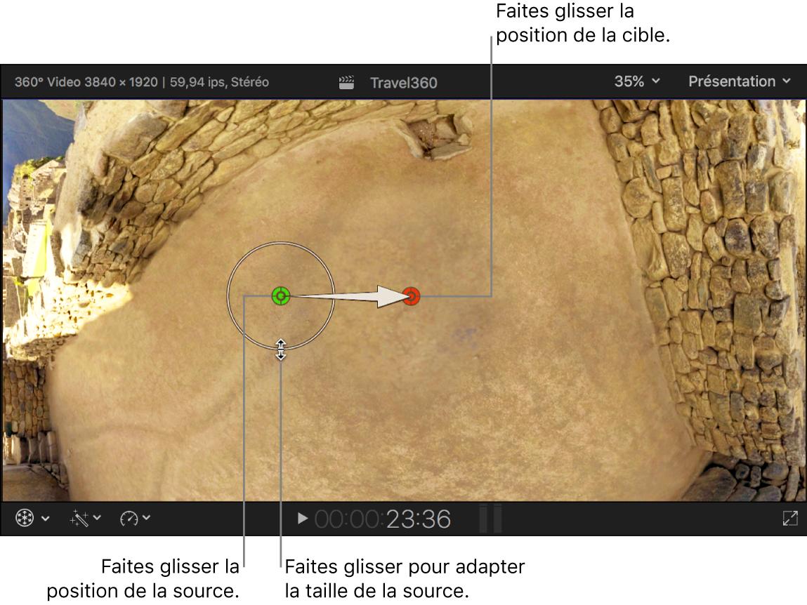 Visualiseur affichant les contrôles d'écran de l'effet Correction sur 360°