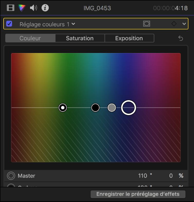 Inspecteur de couleur montrant les commandes reprises dans la fenêtre Couleur du réglage couleurs