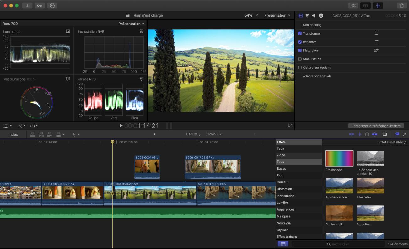 Fenêtre principale de FinalCutPro montrant l'affichage d'instruments vidéo, le visualiseur, l'inspecteur, la timeline et le navigateur d'effets