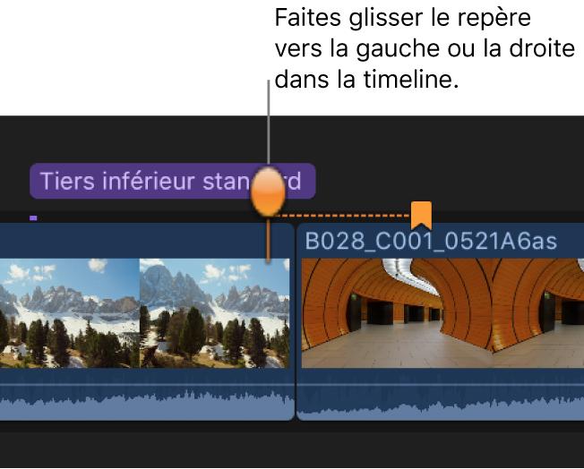 Glissement d'une vignette de marqueur de chapitre vers une autre image vidéo dans la timeline