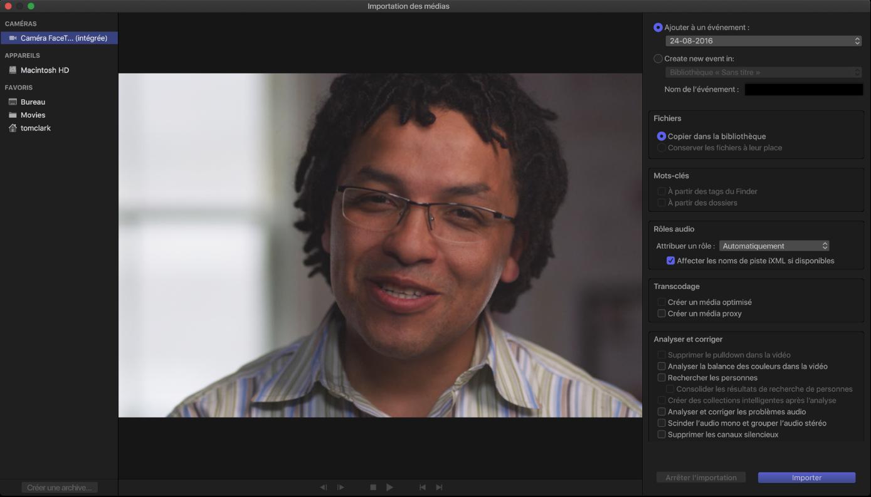 Fenêtre Importation des médias affichant une image vidéo en direct de la caméra sélectionnée