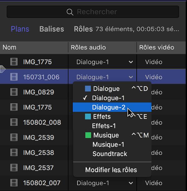 Colonne Rôles audio dans la fenêtre Plans de l'index de la timeline, montrant un menu avec les sous-rôles disponibles