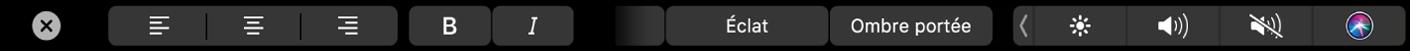 Touch Bar montrant les commandes pour le réglage de l'alignement, du style et de l'apparence du texte