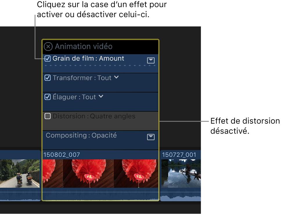Éditeur d'animation vidéo avec cases permettant d'activer et de désactiver les effets
