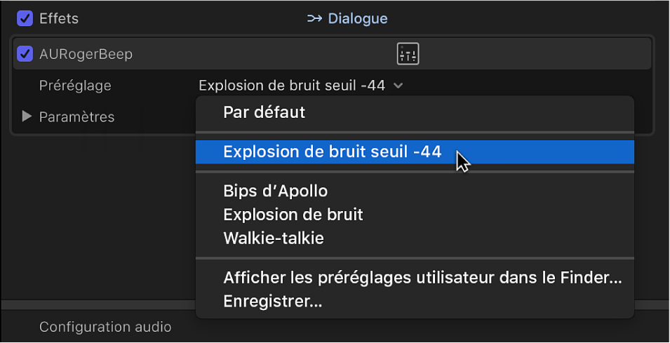 Section Effets de l'inspecteur audio affichant un préréglage enregistré dans le menu local Préréglage